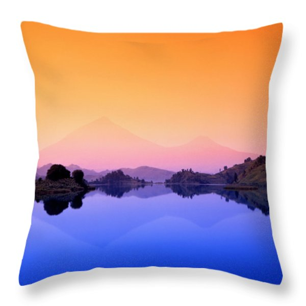 The Virunga Mountains Rise Above Lake Throw Pillow by David Pluth