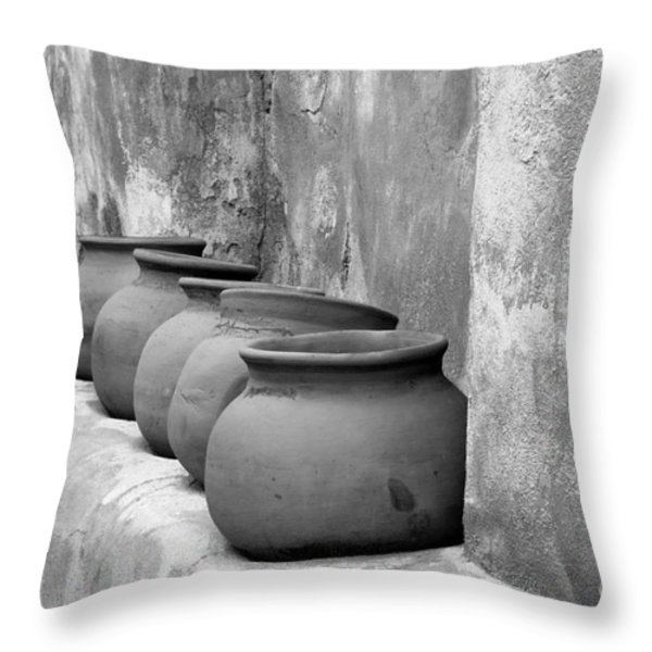 The Wall Of Pots Throw Pillow by Sandra Bronstein