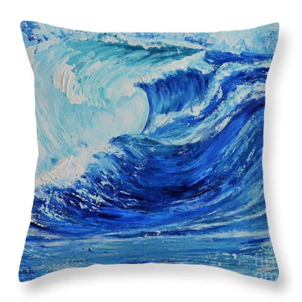 The Wave Throw Pillow by Teresa Wegrzyn