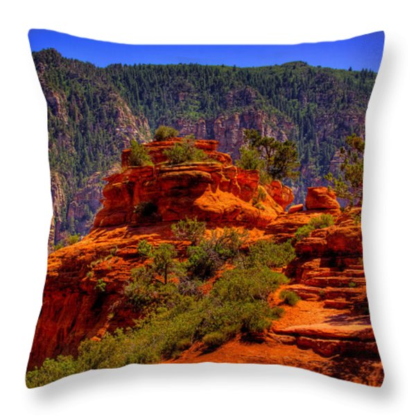 The Wedding Rock in Sedona Throw Pillow by David Patterson