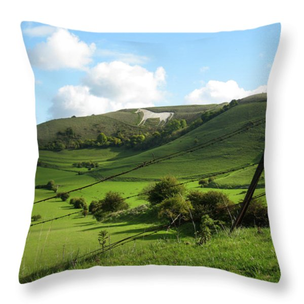 The White Horse Westbury England Throw Pillow by Kurt Van Wagner