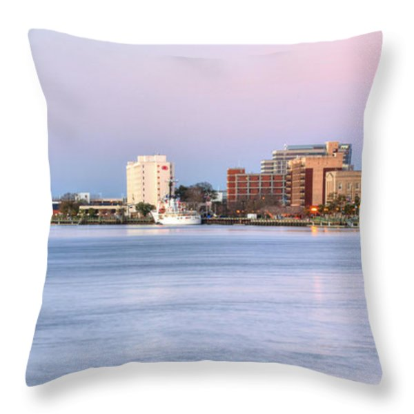 The Wilmington Skyline Throw Pillow by JC Findley