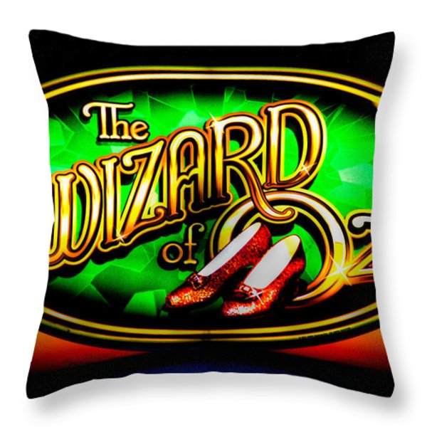 The Wizard Of Oz Casino Sign Throw Pillow by David Patterson