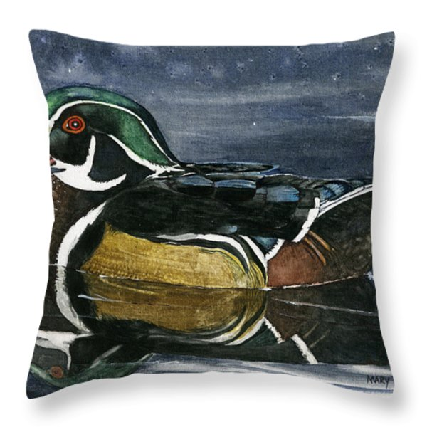 The Wood Duck Throw Pillow by Mary Tuomi