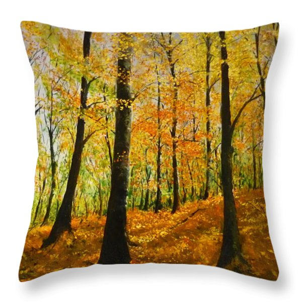 The Wood For The Trees Throw Pillow by Lizzy Forrester