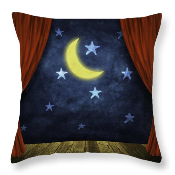 theater stage with red curtains and night background  Throw Pillow by Setsiri Silapasuwanchai