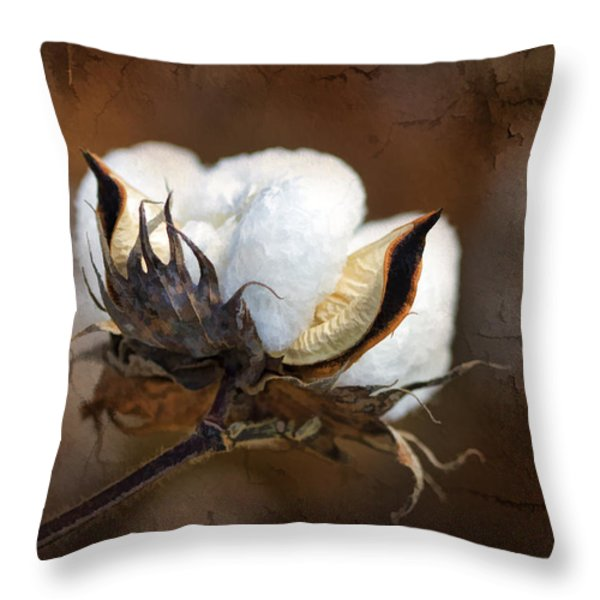 Them Cotton Bolls Throw Pillow by Kathy Clark
