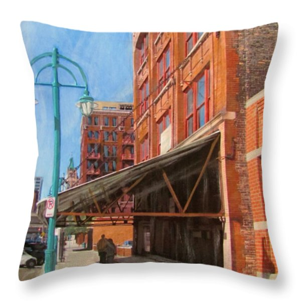 Third Ward - Broadway Awning Throw Pillow by Anita Burgermeister