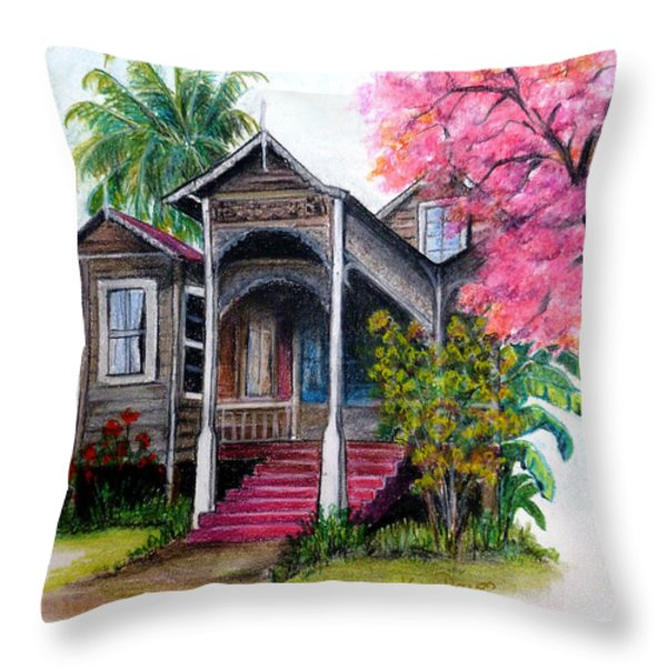 THIS OLD HOUSE  Throw Pillow by KARIN KELSHALL- BEST