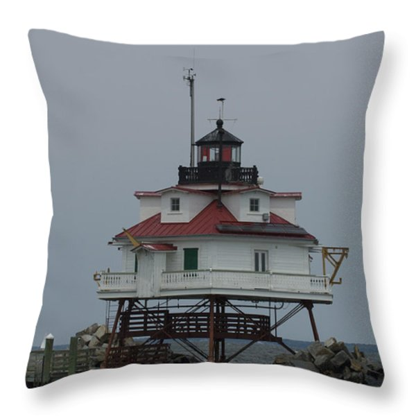Thomas Point Shoal Lighthouse Throw Pillow by Paul Sutherland