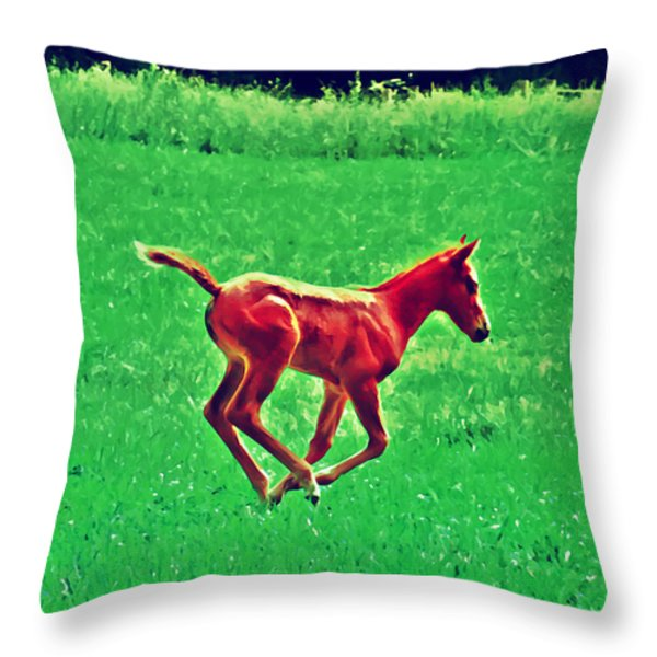 Thorobred Throw Pillow by Bill Cannon
