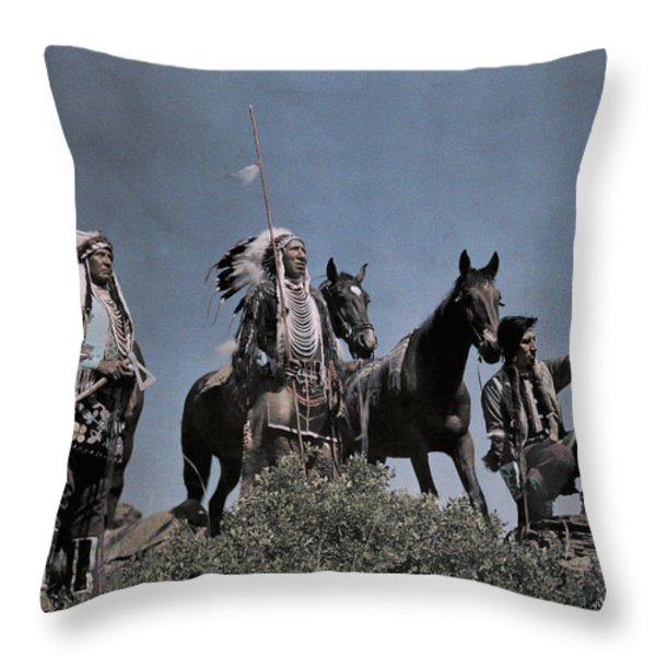 Three American Indians On The Crow Throw Pillow by Edwin L. Wisherd