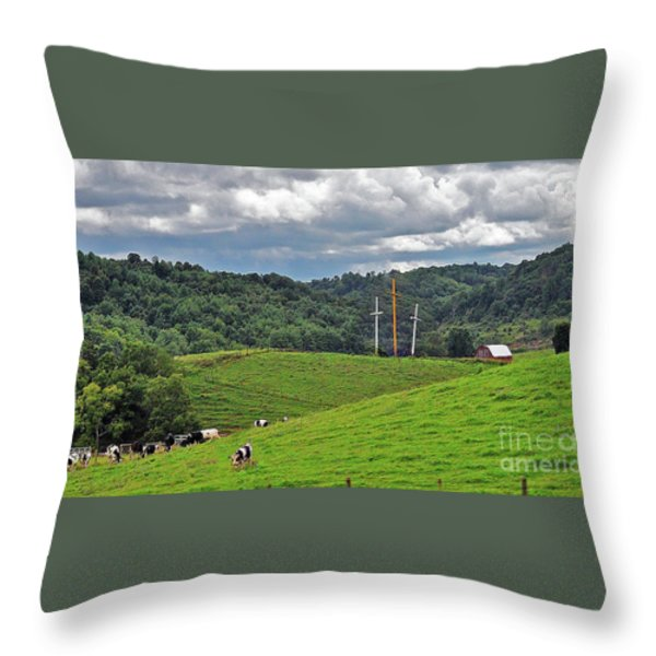 Three Crosses On The Farm Throw Pillow by Lydia Holly