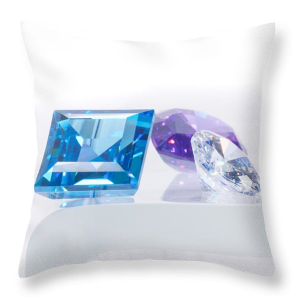 three jewel Throw Pillow by ATIKETTA SANGASAENG