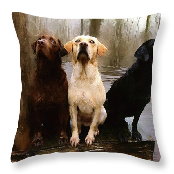Three Labs Throw Pillow by Robert Smith