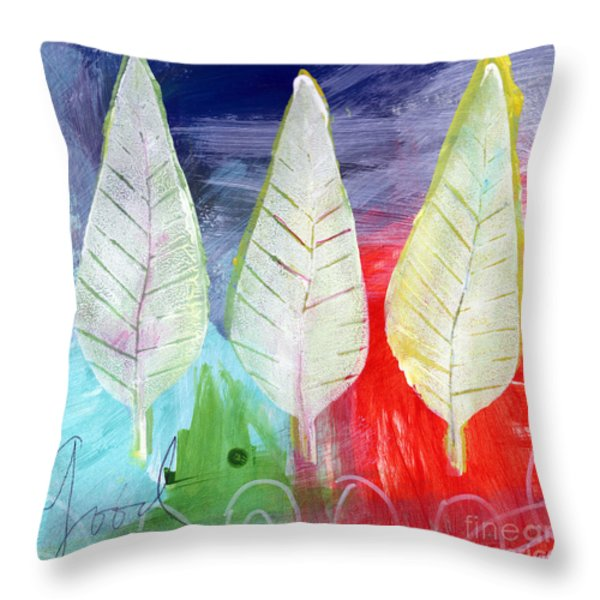 Three Leaves Of Good Throw Pillow by Linda Woods