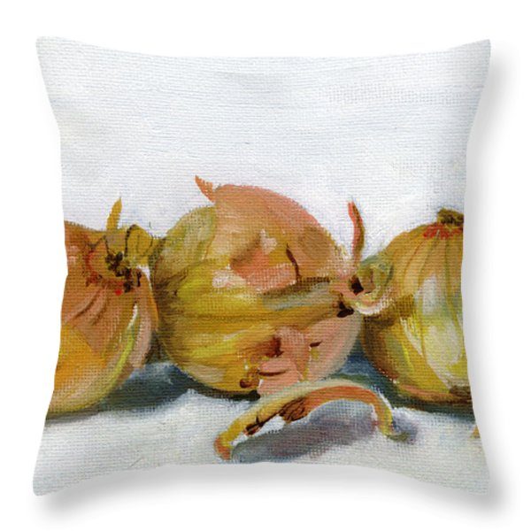 Three Onions Throw Pillow by Sarah Lynch