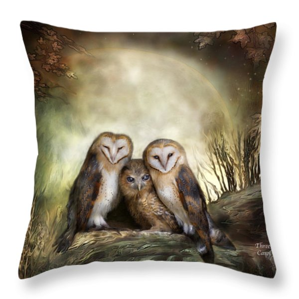 Three Owl Moon Throw Pillow by Carol Cavalaris