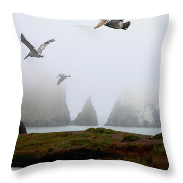 Three Pelicans in Portrait Throw Pillow by Wingsdomain Art and Photography