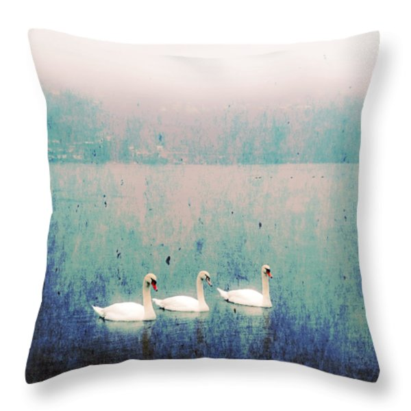 three swans Throw Pillow by Joana Kruse