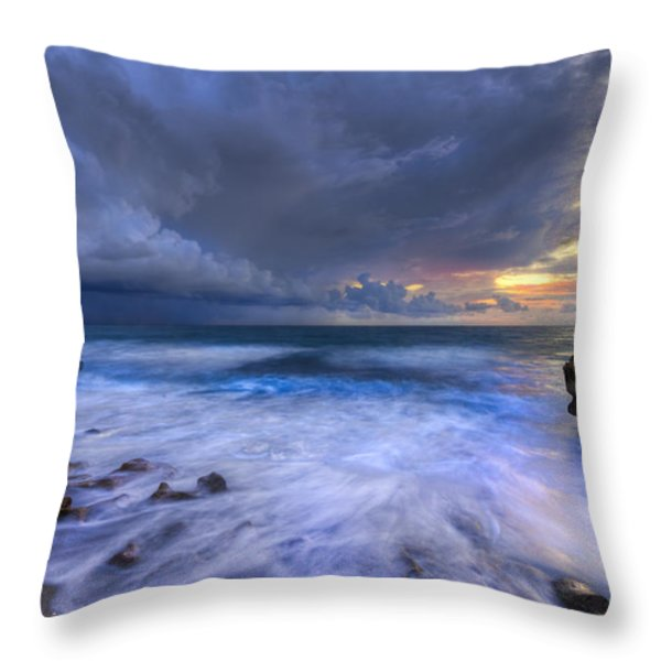 Thunder Tides Throw Pillow by Debra and Dave Vanderlaan