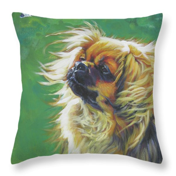 Tibetan Spaniel and cabbage white butterfly Throw Pillow by Lee Ann Shepard
