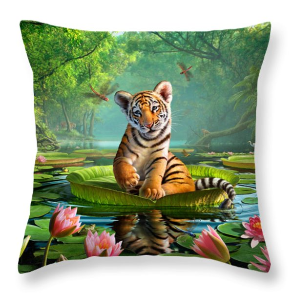 Tiger Lily Throw Pillow by Jerry LoFaro