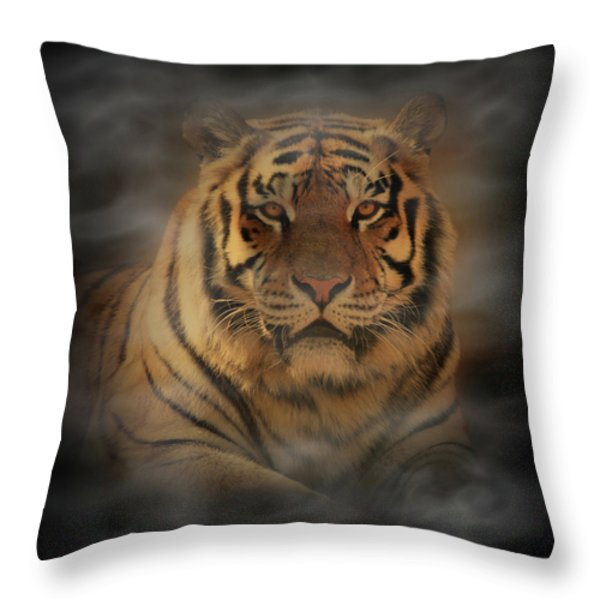 Tiger Throw Pillow by Sandy Keeton