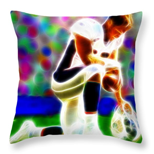 Tim Tebow Magical Tebowing 2 Throw Pillow by Paul Van Scott
