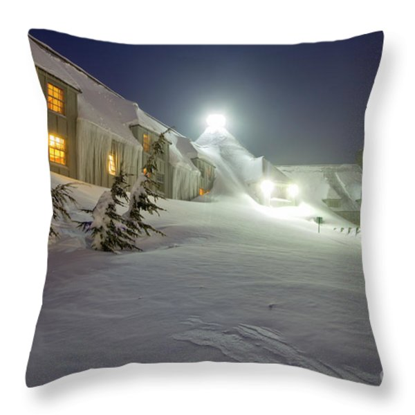 Timberline Lodge Mt Hood Snow Drifts at night Throw Pillow by Dustin K Ryan
