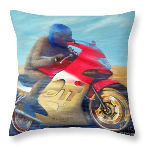 Time And Space Equation - Triumph 600tt Throw Pillow by Brian  Commerford