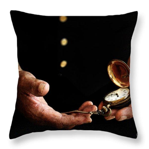 Time Keeper Throw Pillow by Stephanie Frey