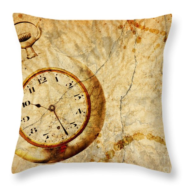 Time Throw Pillow by Michal Boubin