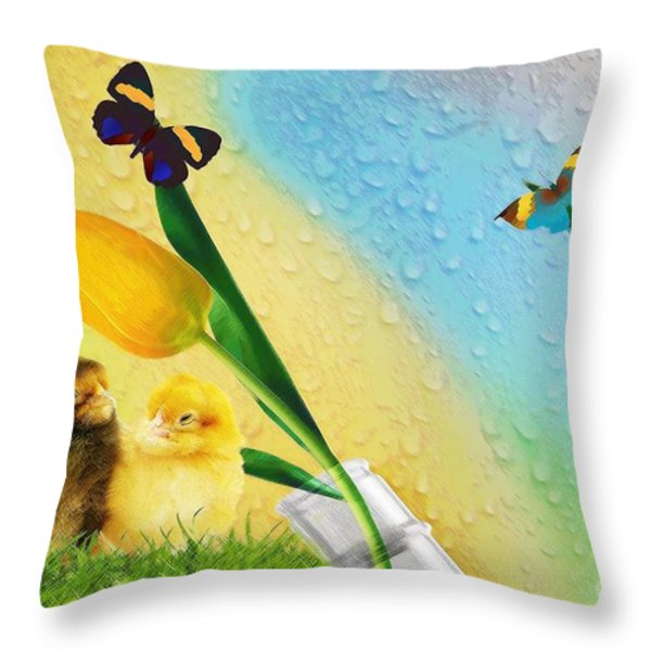 Tiptoe Through The Tulips Throw Pillow by Liane Wright