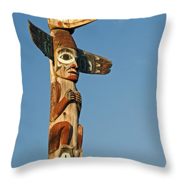Tlingit Totem Pole Throw Pillow by Greg Vaughn - Printscapes