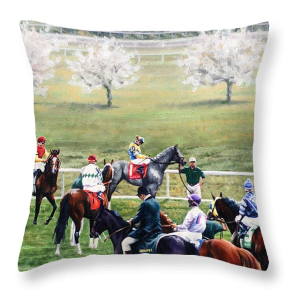 To The Gate At Keeneland Throw Pillow by Thomas Allen Pauly