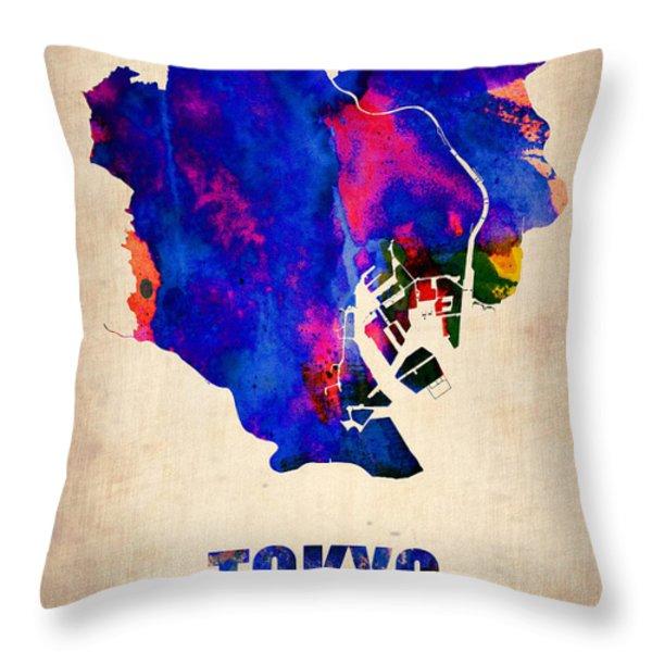 Tokyo Watercolor Map 2 Throw Pillow by Naxart Studio