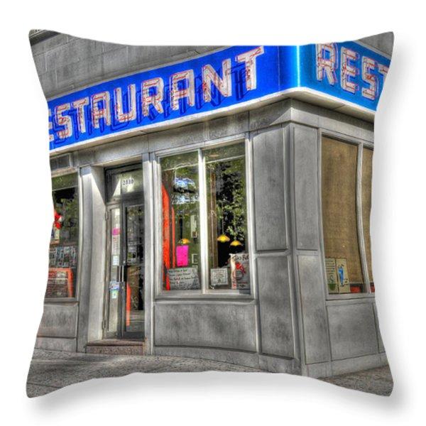 Tom's Restaurant Of Seinfeld Fame Throw Pillow by Randy Aveille