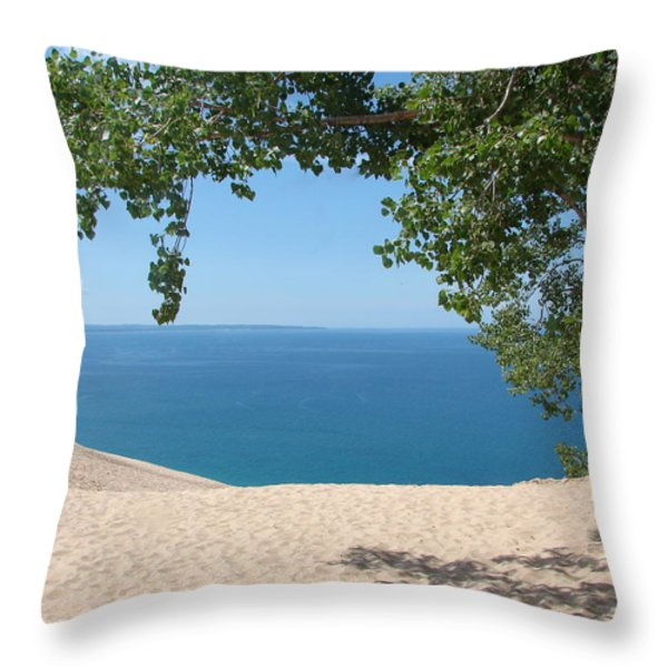 Top of the Dune at Sleeping Bear Throw Pillow by Michelle Calkins