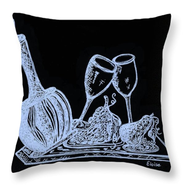 Topsy Turvy Tray - First Kiss Throw Pillow by Eloise Schneider