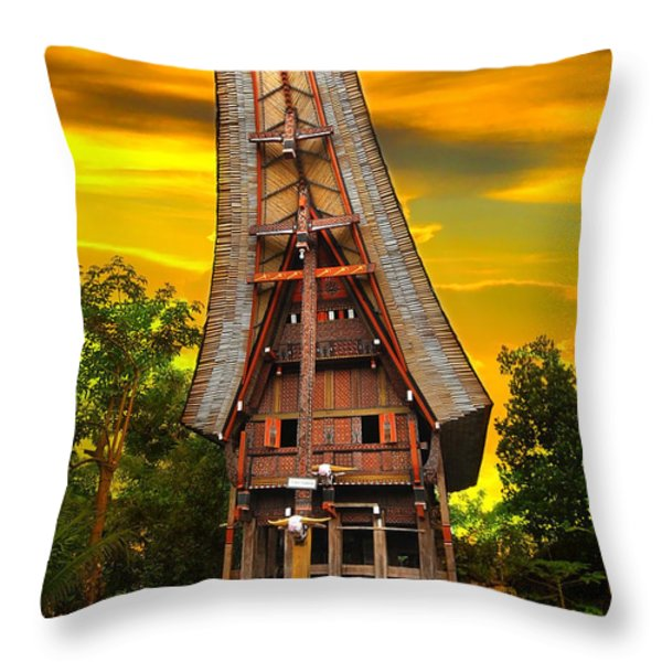Toraja Architecture Throw Pillow by Charuhas Images