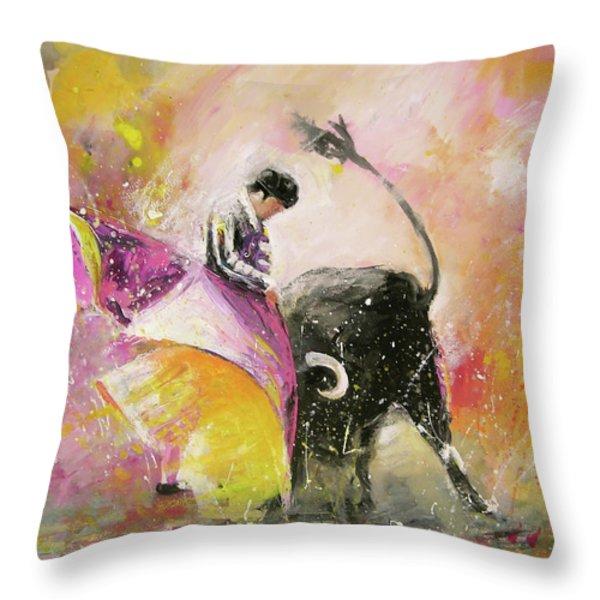 Toro Tenderness Throw Pillow by Miki De Goodaboom