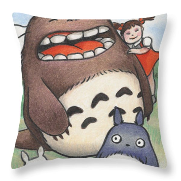 Totoro And Friends After Hayao Miyazaki Throw Pillow by Amy S Turner