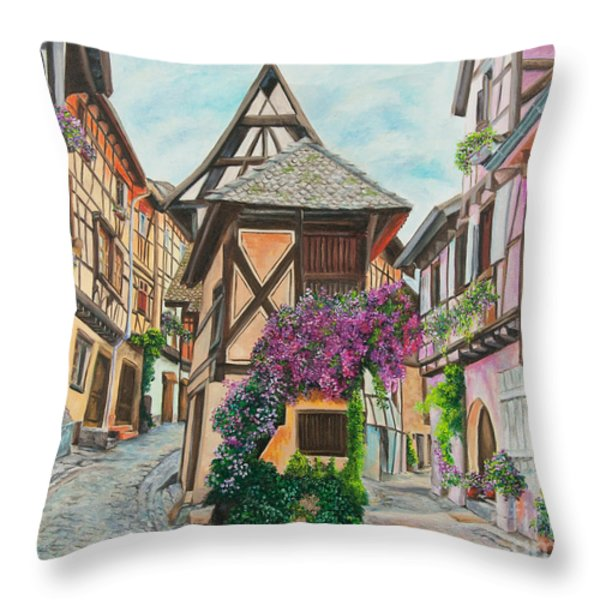 Touring In Eguisheim Throw Pillow by Charlotte Blanchard