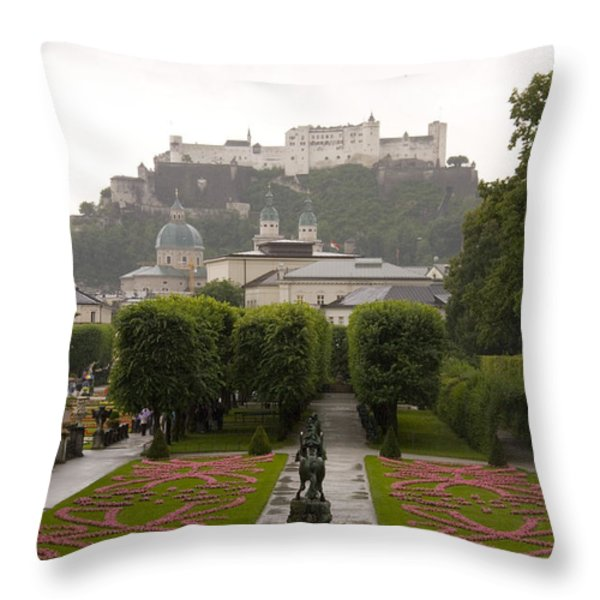 Tourists Enjoy A Rainy Day Throw Pillow by Taylor S. Kennedy