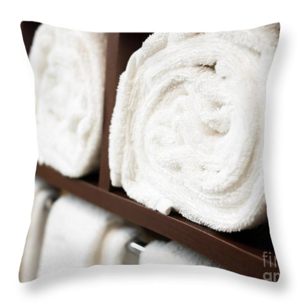 Throw Pillow Display Rack : Towel Rack With Rolled Towels Photograph by Paul Velgos