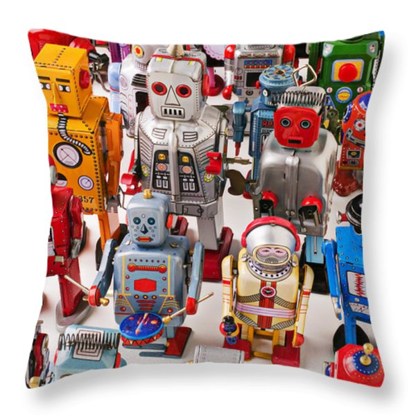 Toy Robots Throw Pillow by Garry Gay