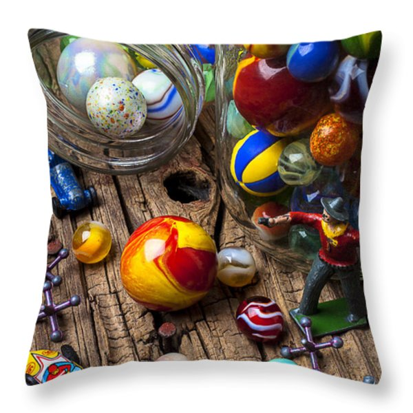 Toys And Marbles Throw Pillow by Garry Gay