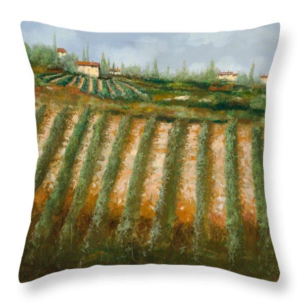 tra i filari nella vigna Throw Pillow by Guido Borelli