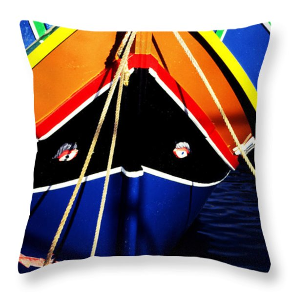 Traditional Maltese Fishing Boat Throw Pillow by Thomas R Fletcher